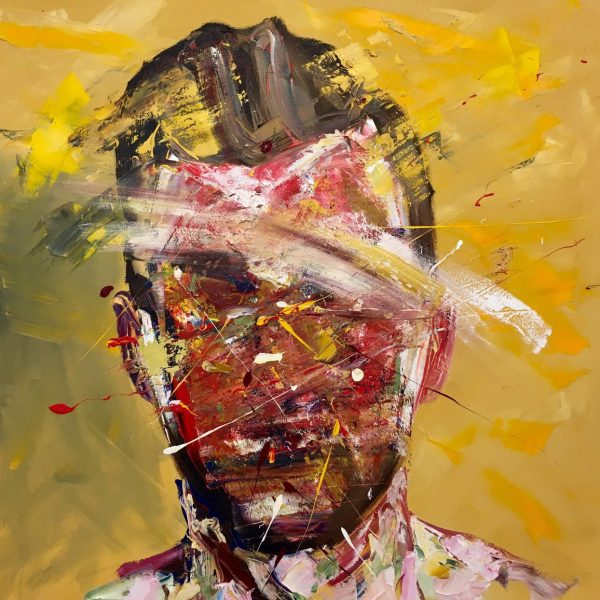 Man on yellow, 120 cm x 120 cm