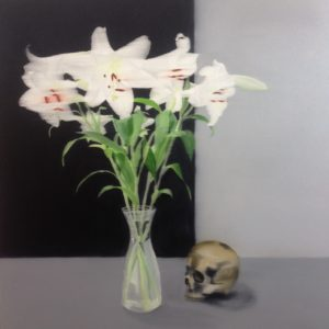Still life with skull and lillies, 90 cm x 95 cm